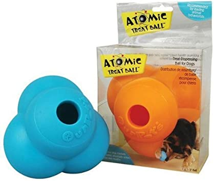 OurPets ATOMIC TREAT BALL Interactive Tough Chew and Treat Dog Toy LARGE 5-inch