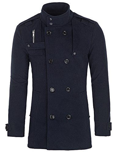 PAUL JONES Men's Winter Stylish Wool Trench Pea Coat with Double Button Size XL Navy Blue (Double Breasted Coat Jacket)
