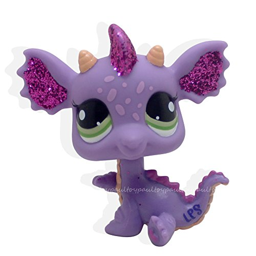 Catzaashop Littlest Pet Shop #2660 Purple & Pink Sparkle Glitter Dragon with Green Eyes LPS