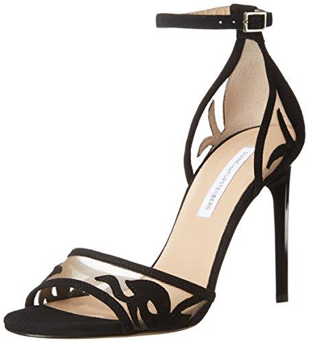 Diane von Furstenberg Women's Vanessa Dress Sandal, Black Suede/Nude Mesh, 8 M US