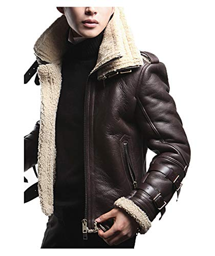 Mens B3 Bomber Jacket Real Shearling Fur Brown Sheepskin Leather WW2 Aviator RAF