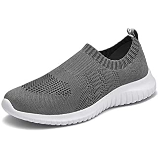 LANCROP Women's Lightweight Walking Shoes - Casual Breathable Mesh Slip on Sneakers 9 US, Label 40 Dark Grey