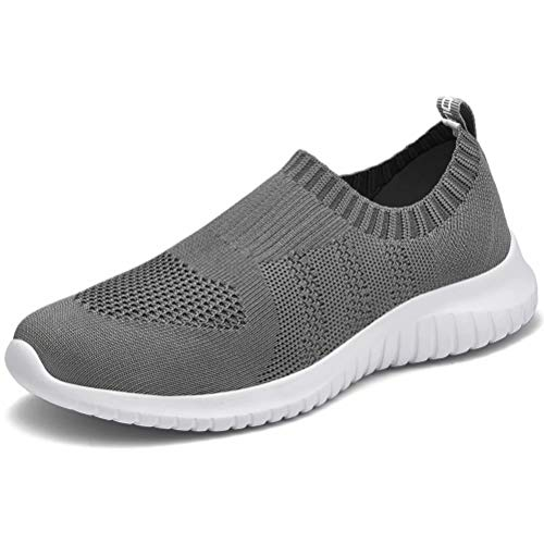 LANCROP Women's Lightweight Walking Shoes - Casual Breathable Mesh Slip On Sneakers 6.5 US, Label 37 Dark Grey (Best Shoes For Pregnancy)
