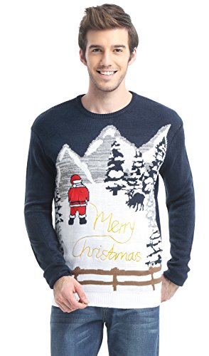 Daisysboutique Men's Holiday Reindeer Snowman Santa Snowflakes Sweater (XX-Large, Santa Pees)