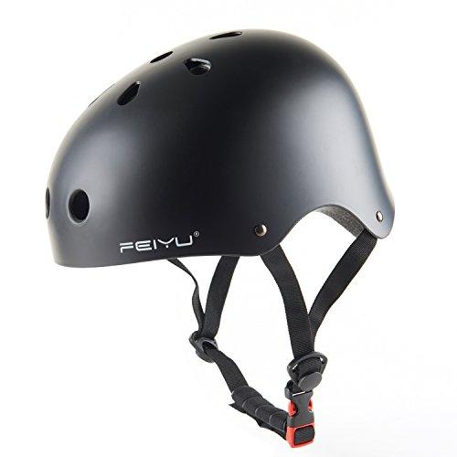 Adult Skateboard Helmet Impact resistance Ventilation for Multi-sports Cycling Skateboarding Scooter Roller Skating Biking Horse Riding (Matte Black, S)