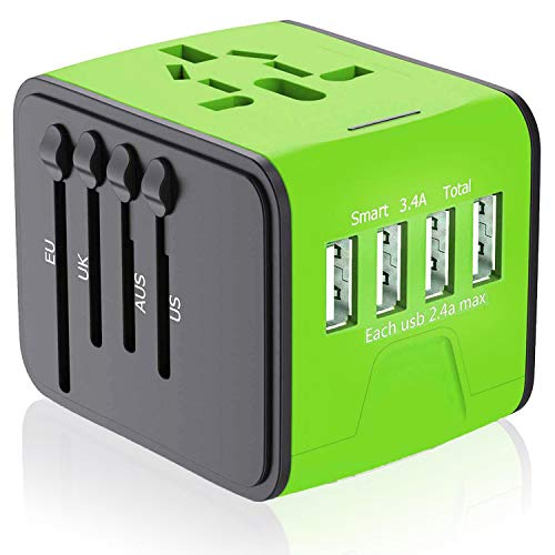 APZEK Travel Adapter, International Power Adapter with 4 USB Ports, Universal Travel Power Adapter Worldwide AC Outlet…