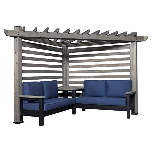 Garden and Outdoor Backyard Discovery 2006539 Laguna Cabana Pergola with Conversation Seating, Cedar and Indigo pergolas