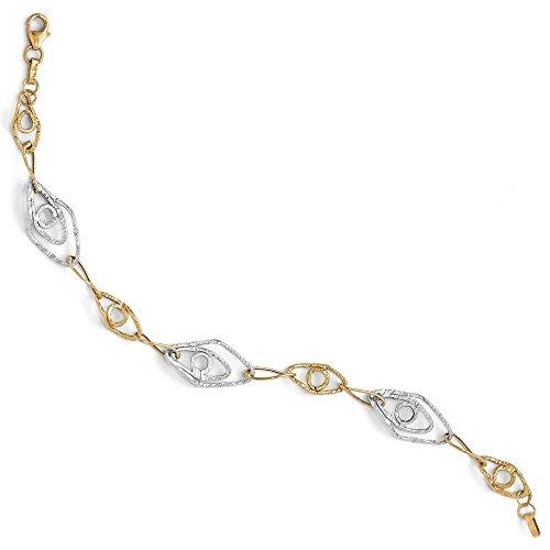 14 carats-Bicolore-poli et texturé fantaisie lien-bracelets de 7,5 cm-JewelryWeb