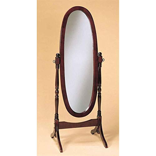 StarSun Depot Cherry Finish Oval Cheval Mirror Full Length Solid Wood Floor Mirror ()