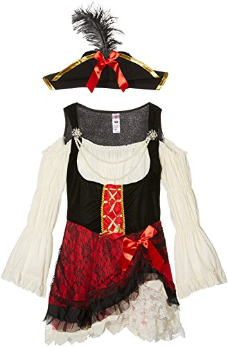 Wench Fancy Dress Costumes Uk (Smiffy's Women's Glamorous Lady Pirate Costume, Dress and Hat, Pirate, Serious Fun, Size 6-8, 23281)