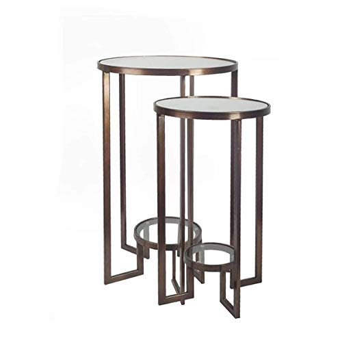2 Piece Nesting Iron Base End Tables - End Table with Glass Top - Bronze (Square Nesting Tables Iron)