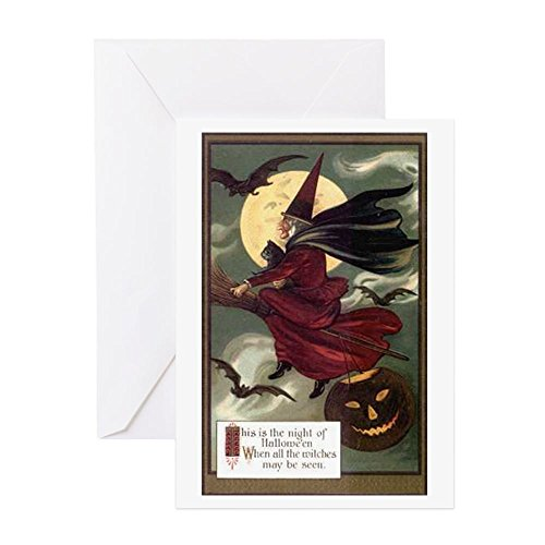 CafePress - Vintage Halloween Flying Witc - Greeting Card, Note Card, Birthday Card, Blank Inside Matte