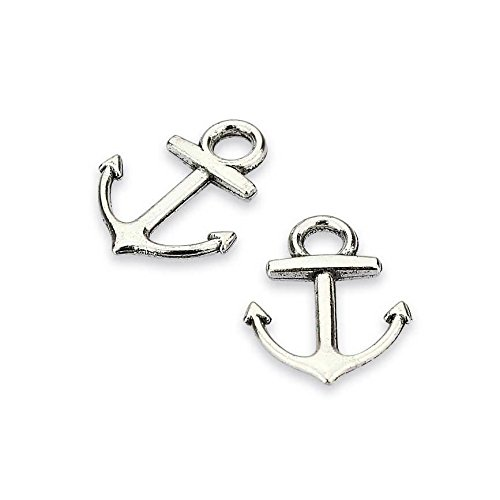 Anchor Connector - LolliBeads (TM) Vintage Antiqued Silver Tone Bracelet Connector Anchor Charms - 50 Pcs
