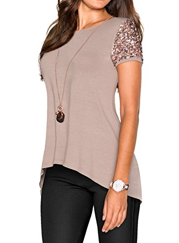 Fashion Sequins (Phoenix Women Khaki Asymmetric Hem Short Sleeve with Sequin Inserts Shirt Top, Khaki,)