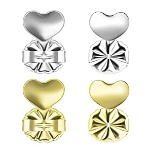 Mirandus Jewelry Earring Lifters – 2 Pairs of Hypoallergenic Adjustable Earring Backs - 1 x 925 Sterling Silver & 1 x 18k Gold Plated [Sterling Silver Base] Support Lifts with Jewelry Case