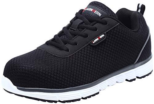 - LARNMERN Steel Toe Shoes for Women Composite Toe Sneakers SRC Slip Resistant Reflective Stripe L8038 (9 US, Black)
