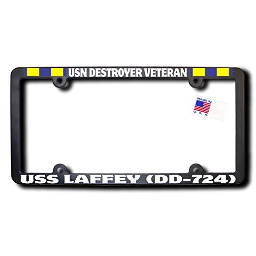 USN Destroyer Veteran USS LAFFEY (DD-724) License Frame w/REFLECTIVE TEXT and Navy Expeditionary Ribbons