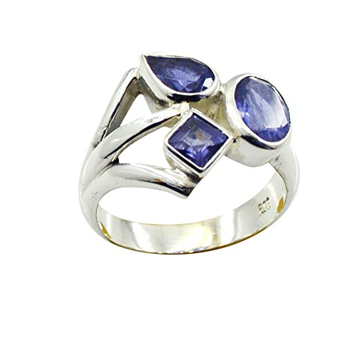 Jewelryonclick Natural Iolite Silver Statement Rings For Women 3 Stone Setting Size 5,6,7,8,9,10,11,12 (3 Stone Iolite Ring)