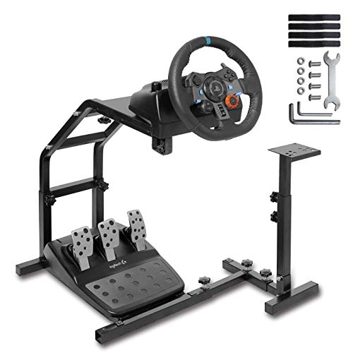 Racing Brackets - CINGO Racing Wheel Stand with V2 Support Game Support Stand Up Simulation Driving Bracket for Logitech G29, G27 and G25 Racing Simulator Steering Wheel Stand Without Wheel and Pedals