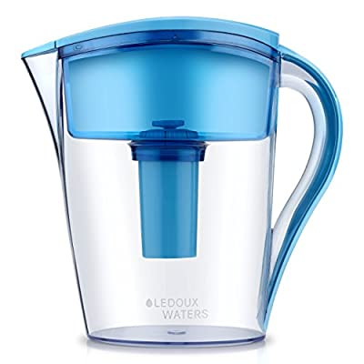 LeDoux Waters 10 Cup Water Pitcher Filters with 1 Filter, BPA Free, Ionizer, Pourer, Jug, Filter System