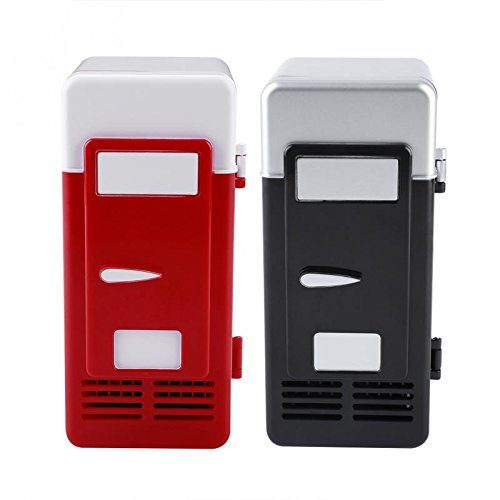 ERTIANANG LED Mini USB Refrigerator USB Refrigerator Drinks Beverage Cans Refrigerator and Heater for car office or home by ERTIANANG