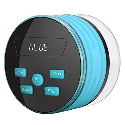 GRANDEY Bluetooth Shower Speaker, Shower Radios, IPX7 Waterproof Portable Wireless Bluetooth Speaker with LED Mood Lights, Suction Cup, 5W Driver, Buit-in Mic, Hands-Free Speakerphone (Blue)