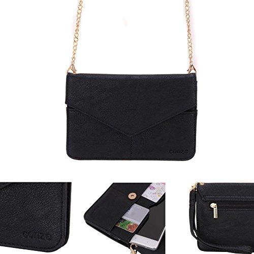 Conze Mujer embrague cartera todo bolsa con correas de hombro para teléfono inteligente para Lava Iris combustible 60/50 negro negro negro