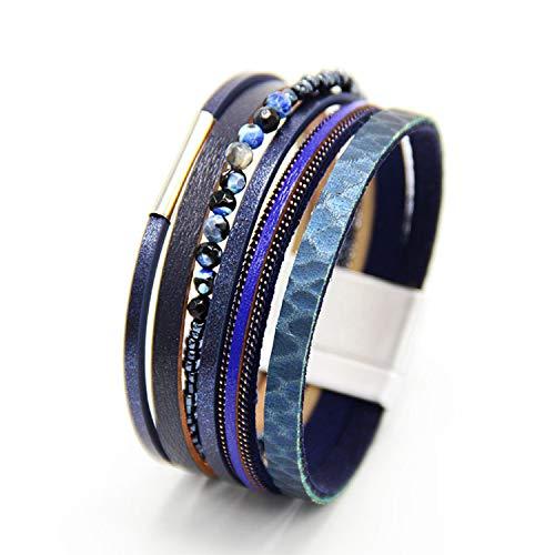 Nature Stone Woman Leather Bracelet Pulseira Magnetic Buckle Multilayer Bracelet Women Fashion New Blue