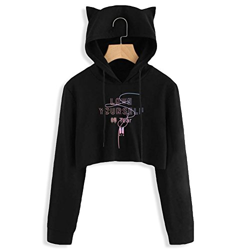 YJQ Women's Girls Kpop BTS Crop Top Hoodie Love Yourself Tear Hip Hop Cat Ear Cropped Hoodie Sweatshirt(L Black01/Love Yourself Tear) by YJQ (Image #3)