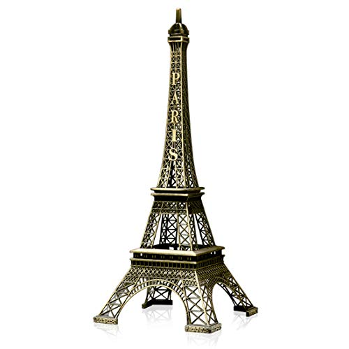 Kalevel Metal Eiffel Tower Statue 12.6 Inch Tall Eiffel Tower Centerpiece Art Craft Kit Paris Eiffel Tower Figurine Model Stand Decorations Ornament Vintage Christmas Home Office Party Table Decor