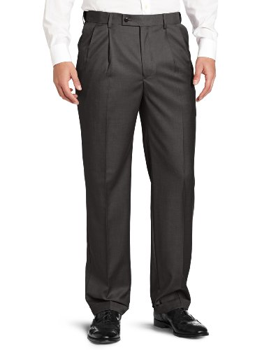 Louis Raphael ROSSO Men's Super 150 Twill Pleated with Comfort Waist Pant, Gray, - Louis For Men