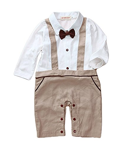 [AvaCostume Baby Boys Romper Toddler Long Sleeve Overall Outfits Bowtie, Khaki 12M] (Halloween Costume Wearing Overalls)