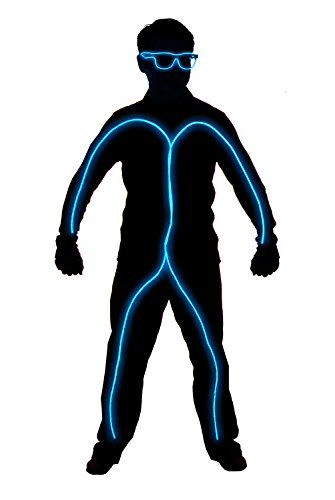 GlowCity Light Up Stick Figure Costume Kit Includes Lights, Shades and Clips Only-Clothing Not Included-Aqua Child ()