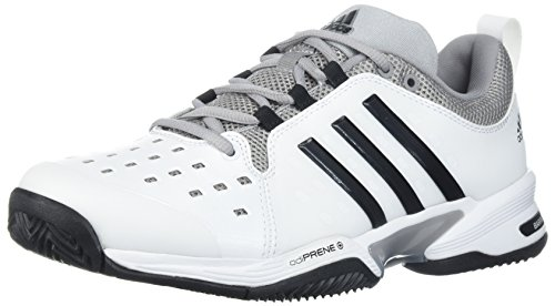 adidas Barricade Classic Wide 4E Tennis Shoe,white/black/mid grey,6.5 US