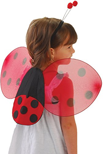 GiftExpress Lady Bug Wings & Antenna Costume Set/Ladybug Wing Set/Ladybug Costume Black and Red]()