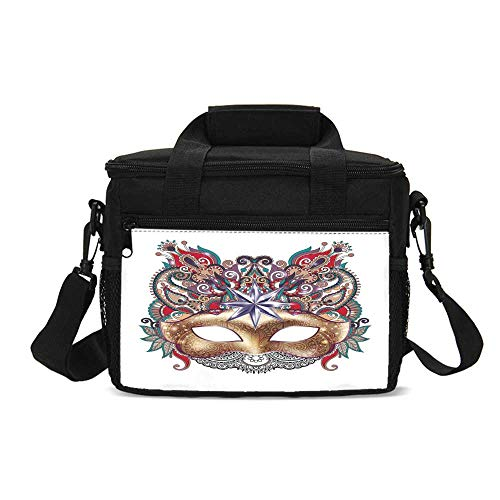 Mardi Gras Durable Lunch Bag,Venetian Carnival Mask Silhouette with Ornamental Elements Masquerade Costume Decorative for Picnic Travel,9.4