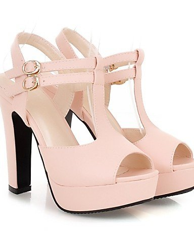 ShangYi Womens Shoes Stiletto Heel Peep Toe/Platform Sandals Office & Career/Dress Black/Yellow/Pink Black