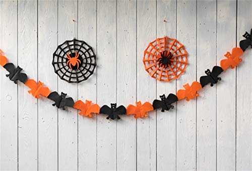 Laeacco 5x3ft Halloween Backdrop Vinyl Handmade Smiling Face Black Orange Paper Cobweb Spiders Bats Pale Plank Photography Background Happy Halloween Party Banner Child Kids Baby Shoot Wallpaper -