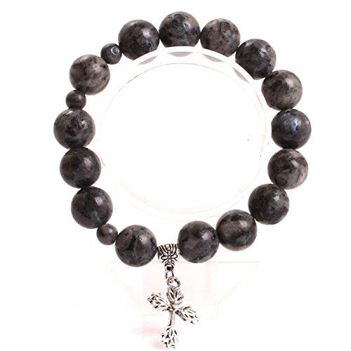 GEM-inside 12mm Black Larvikite Mala Prayer Rosary Beads Bracelets Elastic Catholic Christian Jewelry for Men Women 7