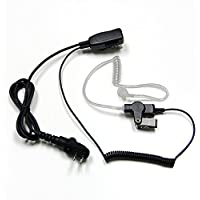MaximalPower Clear Coil Tube Earbud Headset PTT Mic w/ KEVLAR HYTERA 2-Pin plug with screw