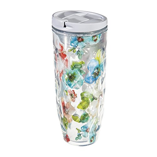 Cypress Home Summer Bloom Textured Acrylic Hot Tumbler, 16 ounces