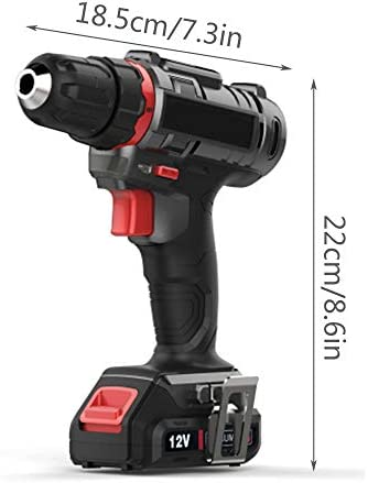 JIN GUI 12V Lithium Ion Drill With Work Light, 22N / m Torque Cordless Drill Driver With Battery and Charger, Suitable for Decoration/Repair/Building