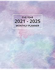 2021-2025 Five Year Monthly Planner: 60 Month Calendar and Organizer   Purple Watercolor Edition
