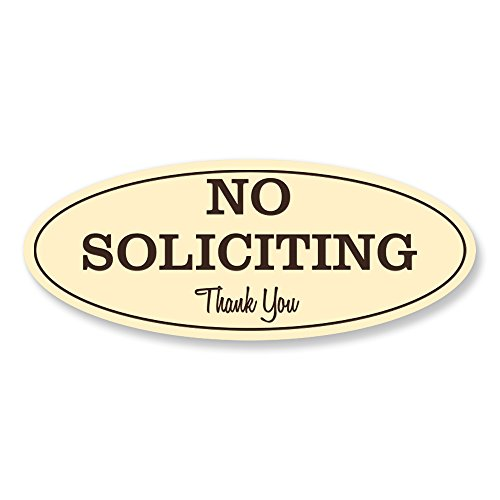 Oval No Soliciting Sign (Ivory) - Medium ()