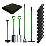 simpa 5PC Carbon Steel Gardening Tool Set & 10 x Weed Control Fabric 8M x 1.5M Roll 50gsm - Garden Set Includes: Spade, Digging Fork, Rake, Dutch Hoe & Edging Iron.