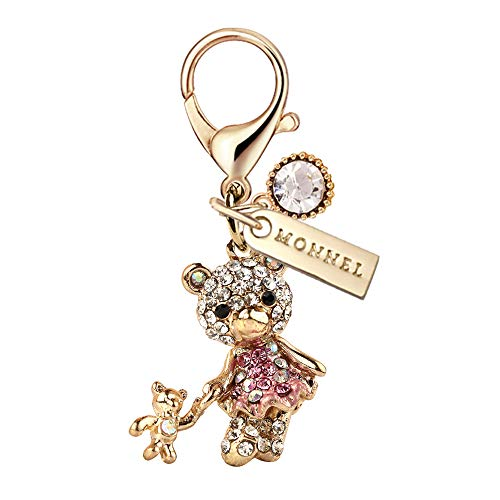 MC118 New Crystal Pink Dress Teddy Bear Lobster Clasp Charm Pendant with Pouch Bag (1 Piece)