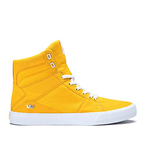 - Supra Aluminum High Top Lace Up Sneaker Shoes, Caution-White, Size 10.5
