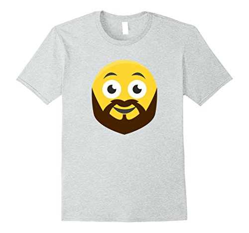 [Mens Emoticon With A Brown Full Beard Smiley T-Shirt Medium Heather Grey] (Full Beard And Mustache Grey)