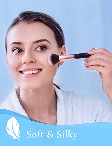 Anjou Makeup Brush Set, 24pcs Premium Cosmetic Brushes for Baking Foundation Blending Blush Concealer Eye Shadow Nose Highlighting, Cruelty-Free Synthetic Fiber Bristles, Rose Gold