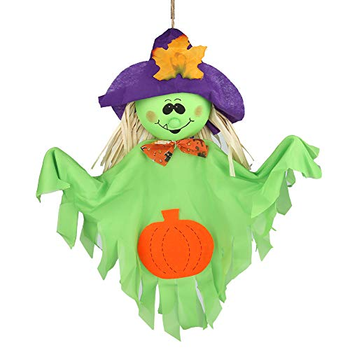 ((Pack of 2) Halloween Theme Party Decoration Hanging Ghost Windsock, Spook Pumpkin Fly Witch Scarecrow Doll for Front Yard Patio Lawn Garden(Witch))